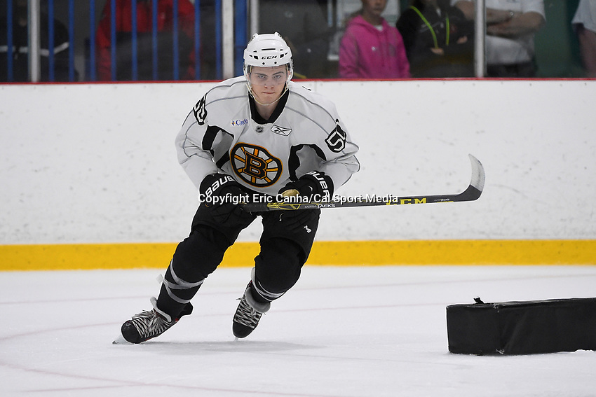July 15, 2015 - Wilmington, Massachusetts, U.S. - Forward Jake DeBrusk (50) takes part in the Boston Bruins development camp held at Ristuccia Arena in Wilmington Massachusetts. Eric Canha/CSM