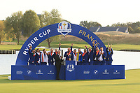 Thomas Bjorn Captain Team Europe gives a speech on the 18th green after Team Europe won the 2018 Ryder Cup at Le Golf National, Ile-de-France, France. 30/09/2018.<br /> Picture Thos Caffrey / Golffile.ie<br /> <br /> All photo usage must carry mandatory copyright credit (© Golffile | Thos Caffrey)