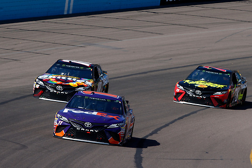 Monster Energy NASCAR Cup Series<br /> TicketGuardian 500<br /> ISM Raceway, Phoenix, AZ USA<br /> Sunday 11 March 2018<br /> Denny Hamlin, Joe Gibbs Racing, Toyota Camry FedEx Freight, Kyle Busch, Joe Gibbs Racing, Toyota Camry Skittles Sweet Heat, Martin Truex Jr., Furniture Row Racing, Toyota Camry 5-hour ENERGY/Bass Pro Shops<br /> World Copyright: Lesley Ann Miller<br /> LAT Images