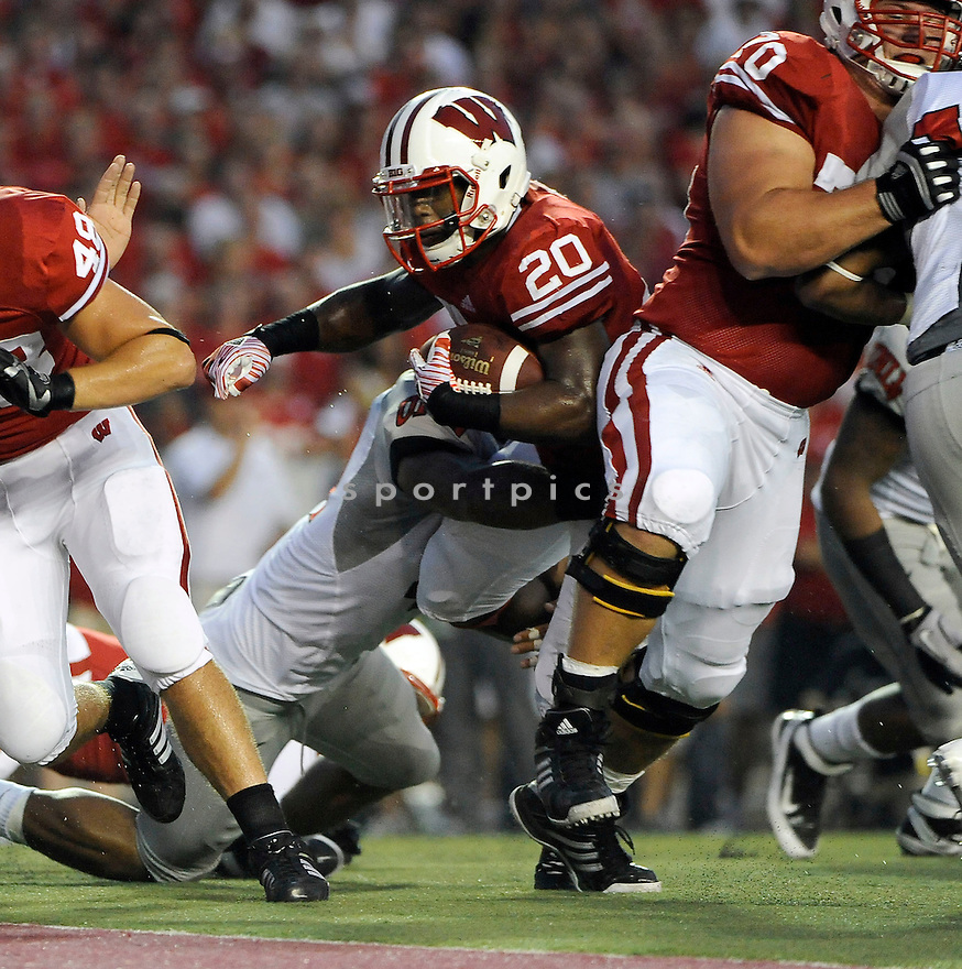JAMES WHITE, of the Wisconsin Badgers, in action during the Badgers game against the UNLV Rebels, on September 1, 2011 at Camp Randall Stadium in Madison, WI. Wisconsin beat UNLV 51-17.
