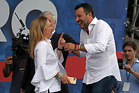 Italian center-right leaders, Giorgia Meloni (Fratelli d'Italia) and Matteo Salvini (Lega Nord) during the demonstration of the center-right parties at Piazza del Popolo, Together for the Italy of work. Rome (Italy), July 4th 2020<br /> Foto Insidefoto