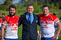Aaron Lahmert, HKRFU chief executive Corey Kennett and Scott Cameron after the 2019 Heartland Championship  rugby match between Horowhenua Kapiti and Poverty Bay at Waikanae Domain in Waikanae, New Zealand on Saturday, 28 September 2019. Photo: Dave Lintott / lintottphoto.co.nz