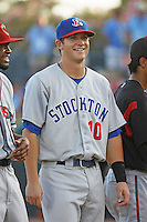 Stockton Ports infielder Stephen Parker of the California League All-Stars being introduced to the crowd before the California League vs. Carolina League All-Star game held at BB&T Coastal Field in Myrtle Beach, SC on June 22, 2010. The California League All-Stars defeated the Carolina League All-Stars by the score of 4-3.  Photo By Robert Gurganus/Four Seam Images