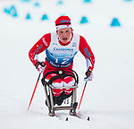 Prince George, B.-C., 17 February/2019 -  Ethan Hess competes in the men's 7.5km Cross Country Sitting event at the 2019 World Para Nordic skiing Championships in Prince George, B.C. Photo Bob Frid/Canadian Paralympic Committee.