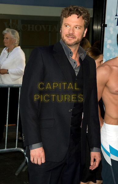 "COLIN FIRTH.New York Premiere of ""Mamma Mia!"".at the Ziegfeld Theatre, New York, NY, USA..July 16th, 2008.half length black suit jacket stubble facial hair waistcoat .CAP/LNC.©TOM/LNC/Capital Pictures."