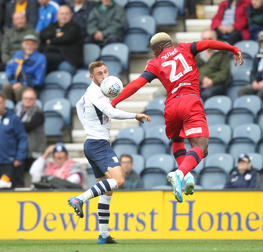 Preston North End's Louis Moult in action with Wigan Athletic's Cedric Kipre<br /> <br /> Photographer Mick Walker/CameraSport<br /> <br /> The EFL Sky Bet Championship - Preston North End v Wigan Athletic - Saturday 10th August 2019 - Deepdale Stadium - Preston<br /> <br /> World Copyright © 2019 CameraSport. All rights reserved. 43 Linden Ave. Countesthorpe. Leicester. England. LE8 5PG - Tel: +44 (0) 116 277 4147 - admin@camerasport.com - www.camerasport.com