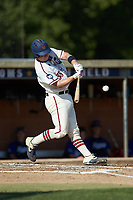 Jonathan Barham (35) (College of Charleston) of the High Point-Thomasville HiToms at bat against the Martinsville Mustangs at Finch Field on July 26, 2020 in Thomasville, NC.  The HiToms defeated the Mustangs 8-5. (Brian Westerholt/Four Seam Images)