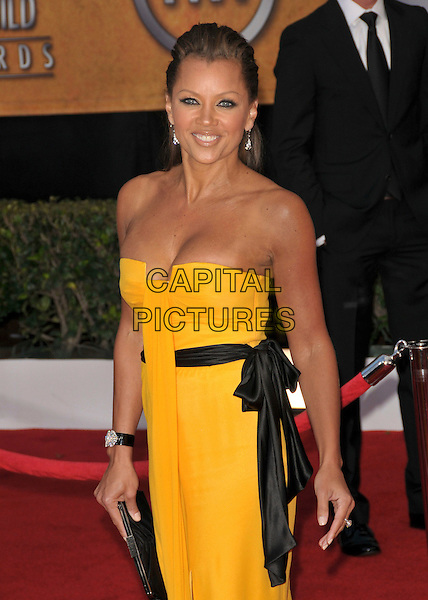 VANESSA WILLIAMS.At The 14th annual Screen Actors Guild Awards (SAG Awards)  held at Shrine Auditorium, Los Angeles, California USA, January 27, 2008..half length yellow strapless dress black sash belt bow.CAP/DVS.©Debbie VanStory/Capital Pictures