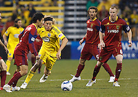 24 APRIL 2010:  Real Salt Lakes' Tony Beltran (2), Steven Lenhart of the Columbus Crew (32)  and Real Salt Lakes' Nat Borchers (6)  during the Real Salt Lake at Columbus Crew MLS soccer game in Columbus, Ohio on April 24, 2010.