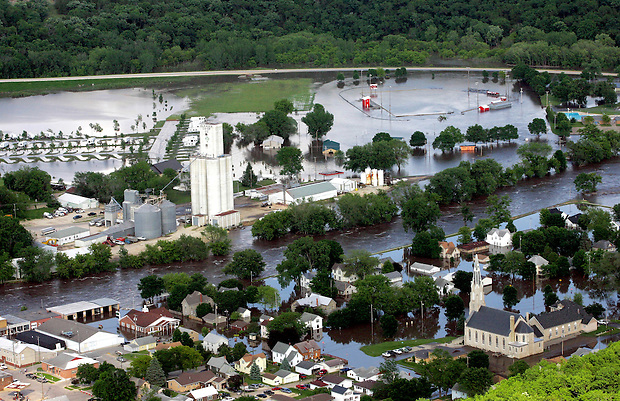 The swollen Turkey River engulfs Elkader, Iowa, Tuesday, June 10, 2008.