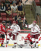 Seb Lloyd (Harvard - 15), Jimmy Vesey (Harvard - 19) - The Harvard University Crimson defeated the visiting Rensselaer Polytechnic Institute Engineers 5-2 in game 1 of their ECAC quarterfinal series on Friday, March 11, 2016, at Bright-Landry Hockey Center in Boston, Massachusetts.