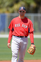 Boston Red Sox third baseman Garin Cecchini #43 during a minor league Spring Training game against the Minnesota Twins at JetBlue Park Training Complex on March 27, 2013 in Fort Myers, Florida.  (Mike Janes/Four Seam Images)