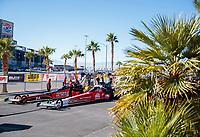 Nov 3, 2019; Las Vegas, NV, USA; NHRA top fuel driver Doug Kalitta (near) alongside Shawn Reed in the staging lanes during the Dodge Nationals at The Strip at Las Vegas Motor Speedway. Mandatory Credit: Mark J. Rebilas-USA TODAY Sports