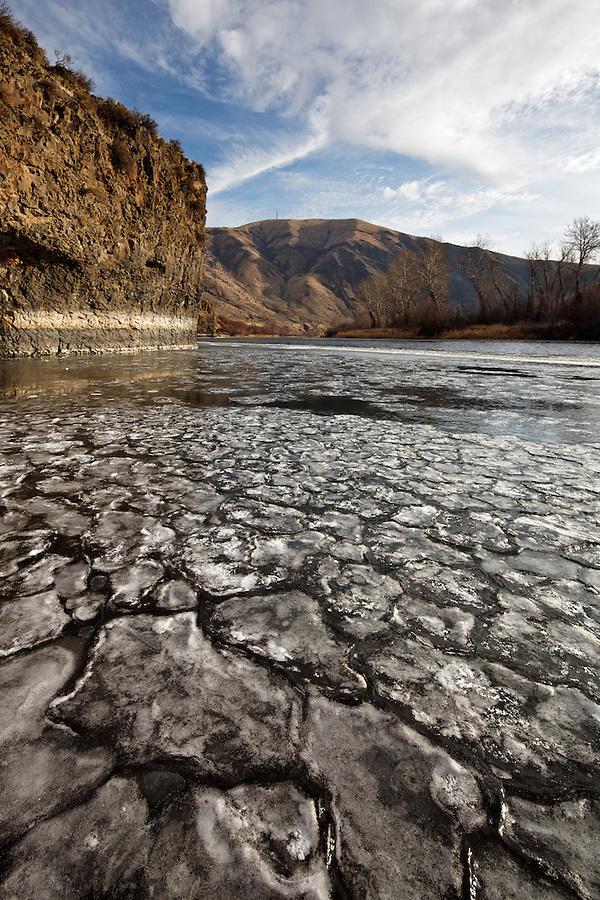 Pancake ice floating on the Yakima River, Yakima, Washington, USA