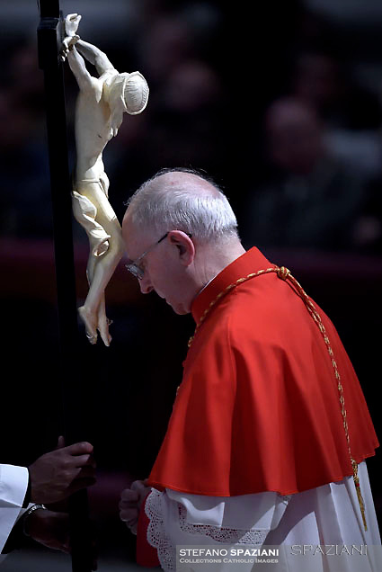 Cardinal Fernando Filoni,Pope Francis the ceremony of the Good Friday Passion of the Lord Mass in Saint Peter's Basilica at the Vatican.March 30, 2018