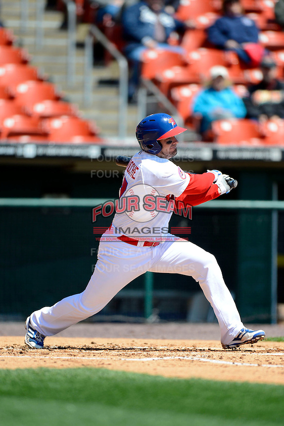 Buffalo Bisons third baseman Andy LaRoche #17 during the first game of a doubleheader against the Pawtucket Red Sox on April 25, 2013 at Coca-Cola Field in Buffalo, New York.  Pawtucket defeated Buffalo 8-3.  (Mike Janes/Four Seam Images)
