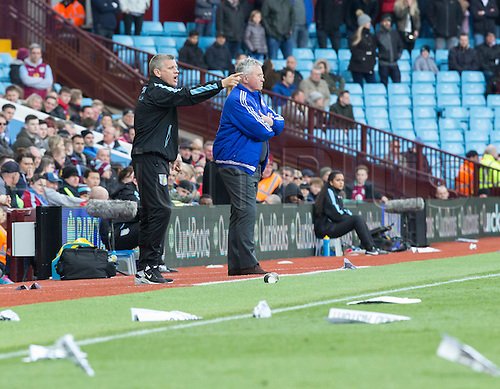 02.04.2016. Villa Park, Birmingham, England. Barclays Premier League. Aston Villa versus Chelsea.  Aston Villa Caretaker Manager Eric Black gives direction to his players in the dying minutes on the side line as many paper aeroplanes are visible on the pitch thrown by the supporters after a poor team performance.
