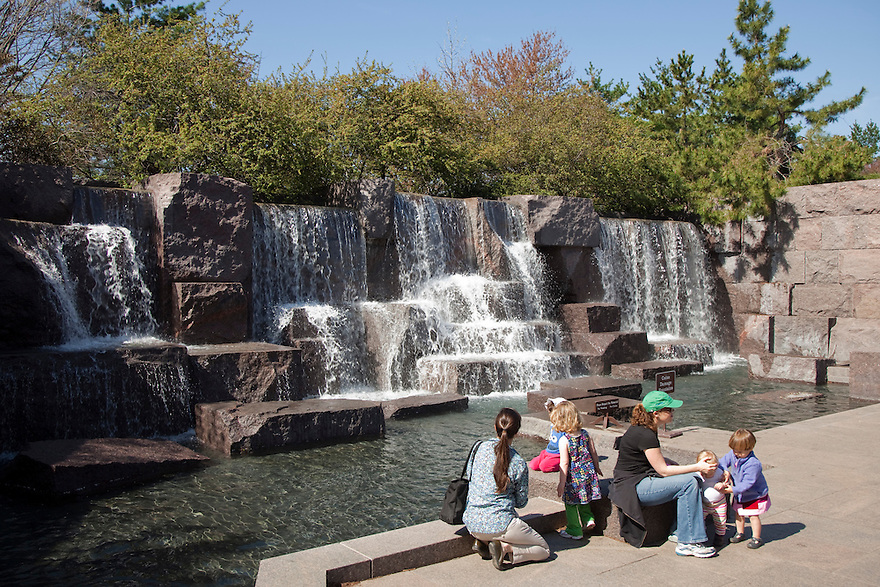 Tourists visit fountains at the Franklin D. Roosevelt Memorial, located on the Western edge of the Tidal Basin near the National Mall.
