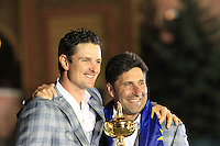 Winning European Team Captain Jose Maria Olazabal (ESP) and Justin Rose (ENG) after Sunday's Singles Matches of the 39th Ryder Cup at Medinah Country Club, Chicago, Illinois 30th September 2012 (Photo Colum Watts/www.golffile.ie)