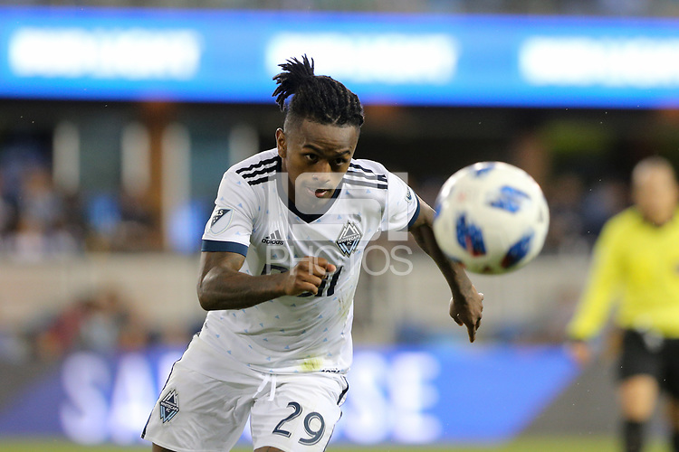 San Jose, CA - Saturday August 25, 2018: Yordy Reyna during a Major League Soccer (MLS) match between the San Jose Earthquakes and Vancouver Whitecaps FC at Avaya Stadium.