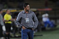 MEDELLÍN -COLOMBIA-20-04-2013. Wilson Gutiérrez técnico de Santa Fe gesticula durante partido de la fecha 12  de la Liga Postobón 2013-1 realizado en el estadio Atanasio Girardot de Medellín./  Santa Fe's coach Wilson Gutierrez gestures during match of the 12th date in the 2013-1 Postobon League at Atanasio Girardot stadium in Medellin.  Photo:VizzorImage/Luis Ríos/STR
