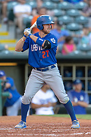 Patrick Kivlehan (27) of the Las Vegas 51s at bat during a game against the Oklahoma City Dodgers at Chickasaw Bricktown Ballpark on June 17, 2018 in Oklahoma City, Oklahoma. Oklahoma City defeated Las Vegas 5-3  (William Purnell/Four Seam Images)