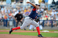 Boston Red Sox pitcher Alfredo Aceves #91 during a Grapefruit League Spring Training game against the Tampa Bay Rays at Charlotte County Sports Park on February 25, 2013 in Port Charlotte, Florida.  Tampa Bay defeated Boston 6-3.  (Mike Janes/Four Seam Images)