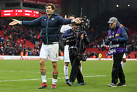 Fernando Llorente of Swansea City celebrates with the traveling fans after the final whistle during the Premier League match between Liverpool and Swansea City at Anfield, Liverpool, Merseyside, England, UK. Saturday 21 January 2017
