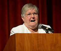 NWA Democrat-Gazette/ANDY SHUPE<br /> Longtime educator Faye Jones speaks Thursday, Oct. 11, 2018, during a presentation by the four Fayetteville Public Schools Hall of Honor inductees in the Performing Arts Center on the Fayetteville High School campus. Also inducted were Peggy Taylor Lewis, who was one of the first black students to graduate from Fayetteville High School; pediatric dentist James Hunt; and beloved educator George Spencer.