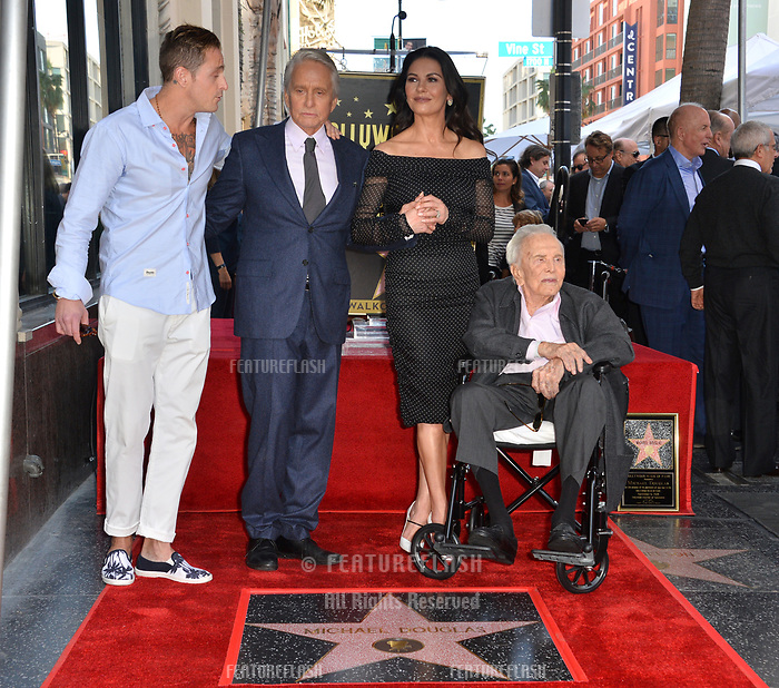 LOS ANGELES, CA. November 06, 2018: Michael Douglas, Kirk Douglas, Catherine Zeta-Jones &amp; Cameron Douglas at the Hollywood Walk of Fame Star Ceremony honoring actor Michael Douglas.<br /> Pictures: Paul Smith/Featureflash