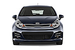 Car photography straight front view of a2015 KIA Rio World Edition 5 Door Hatchback Front View