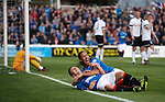 Lewis Macleod celebrates his goal with Bilel Mohsni
