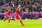 17.03.2019, Allianz Arena, Muenchen, GER, 1.FBL,  FC Bayern Muenchen vs. Mainz 05, DFL regulations prohibit any use of photographs as image sequences and/or quasi-video, im Bild Jubel nach dem Tor zum 4-0 durch James Rodriguez (FCB #11) mit David Alaba (FCB #27) <br /> <br />  Foto &copy; nordphoto / Straubmeier