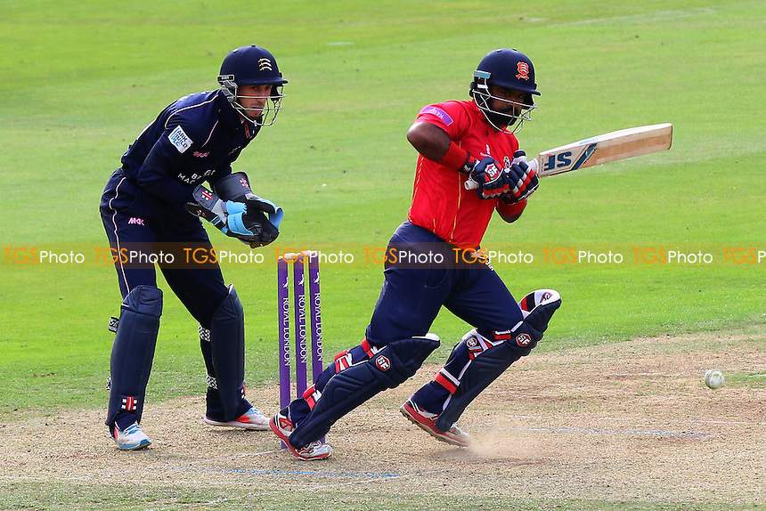 Ashar Zaidi in batting action for Essex as John Simpson looks on from behind the stumps during Middlesex vs Essex Eagles, Royal London One-Day Cup Cricket at Lord's Cricket Ground on 31st July 2016