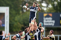 Richard Beck of Yorkshire Carnegie wins the ball at a lineout. Greene King IPA Championship match, between Yorkshire Carnegie and Doncaster Knights on September 17, 2017 at Headingley Stadium in Leeds, England. Photo by: Patrick Khachfe / Onside Images