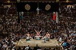 Tokyo, May 23 2013 - Ring entering ceremony for the Yokozuna. In the center : Hakuhō Shō born 11 March 1985 as Mönkhbatyn Davaajargal.