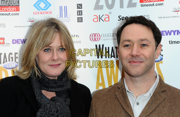 Sarah Lancashire & Reece Shearsmith.attends the Whatsonstage.com Theatregoers' Choice Awards Press Launch and Nominations Announcement at Cafe de Paris in London, England, UK, .December 2nd, 2011..portrait headshot grey gray dress scarf black jacket brown .CAP/CJ.©Chris Joseph/Capital Pictures.