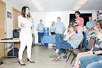 Democratic presidential candidate and Hawaii representative (D-HI 2nd) Tulsi Gabbard speaks to a standing-room crowd at Weare Public Library in Weare, New Hampshire, on Thu., September 5, 2019. Gabbard is the sixth Democratic committee invited to the area to speak by the Weare Democrats.
