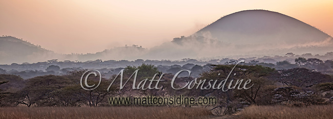 Panorama of morning mist and glowing sunrise over the Chyulu Hills, Kenya, Africa (photo by Wildlife Photographer Matt Considine)