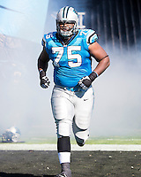 The Carolina Panthers defeated the Atlanta Falcons 34-10 in an inter-division rivalry played in Charlotte, NC at Bank of America Stadium.  Carolina Panthers guard Chris Scott (75)
