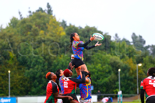 23.08.2015. Dublin, Ireland. Women's Sevens Series Qualifier 2015. Kenya versus Colombia<br /> Isabel Romero (Colombia) gathers the lineout ball.