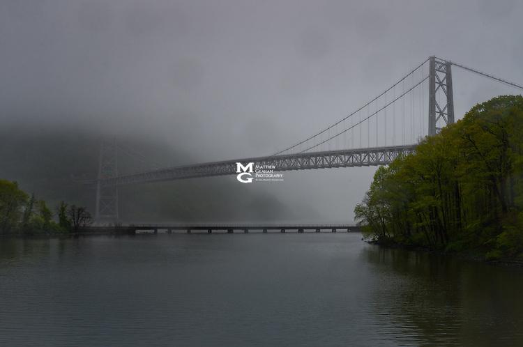 Bear Mountain Bridge in the rain with morning fog