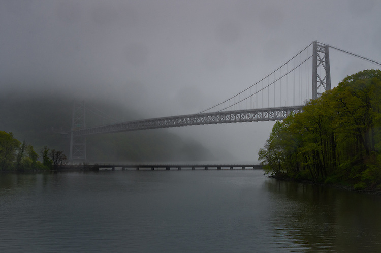 Bear Mountain Bridge in the rain with morning fog