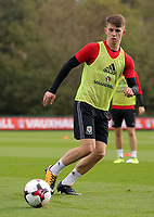 Pictured: Ben Woodburn. Monday 02 October 2017<br /> Re: Wales football training, ahead of their FIFA Word Cup 2018 qualifier against Georgia, Vale Resort, near Cardiff, Wales, UK.