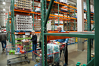 Due to the high volume of shoppers amidst the COVID-19 pandemic, some staple household items are selling out, leaving many shelves bare at the Costco Wholesale store in Arlington, Va., Monday, March16, 2020. . Credit: Rod Lamkey / CNP/AdMedia