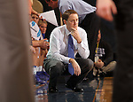 BROOKINGS, SD - DECEMBER 11:  Head Coach Aaron Johnston from South Dakota State University watches the women battle Penn State in the first half of their game Wednesday night at Frost Arena in Brookings. (Photo by Dave Eggen/Inertia)
