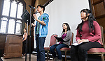"""Left to right, Isabelle Cheng, Johnny Tran, Carolyn Hu-Bradbury, and Harmony Zhang, students in The Theatre School, perform """"Asian Voices"""" during the second annual Grace Lee Boggs Heritage Breakfast hosted by the Office of Institutional Diversity and Equity, Thursday, May 9, 2019, in Cortelyou Commons. (DePaul University/Jeff Carrion)"""