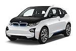 2017 BMW i3 Range-Extender 5 Door Hatchback Angular Front stock photos of front three quarter view