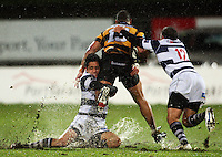 Auckland's Ash Moeke and Jamie Helleur tackle Paul Perez. Air New Zealand Cup rugby match - Taranaki v Auckland at Yarrows Stadium, New Plymouth, New Zealand. Friday 9 October 2009. Photo: Dave Lintott / lintottphoto.co.nz