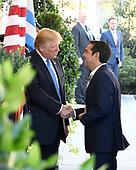 United States President Donald J. Trump welcomes Prime Minister Alexis Tsipras of Greece to the White House in Washington, DC on Tuesday, October 17, 2017.<br /> Credit: Ron Sachs / CNP